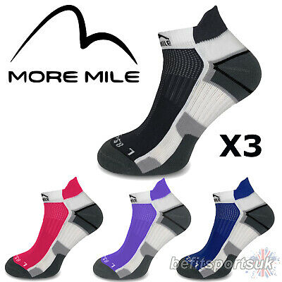 More Mile Mens Womens Ladies Miami Ankle Running Sports Gym Cushioned Socks 3