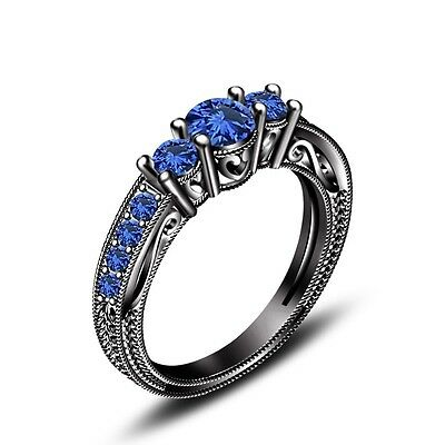 Black Rhodium Over 925 Sterling Silver Blue Sapphire Engagement Wedding Ring