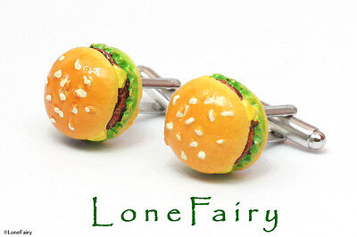 Novelty Junk Food Silver Plated Cufflinks Biscuit Burger Fries For Him Birthday