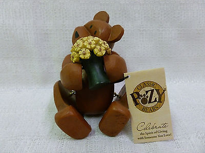 Celebration Wooden Gift Craft Pozy Teddy Bear Thanks A Bunch New Figurine 320032