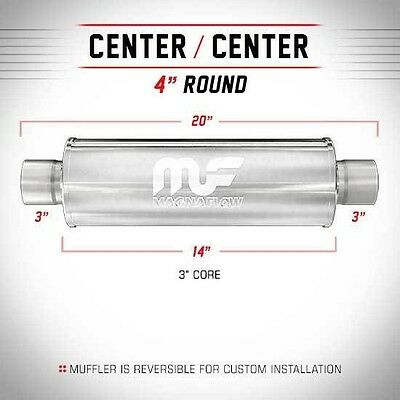 """3"""" ID 4"""" Round 14"""" Polished Stainless Universal Magnaflow Exhaust Silencer 14419"""