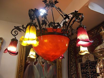 French Art Deco Hand Blown Glass Chandelier