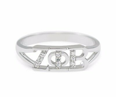 Zeta Phi Beta sterling silver ring with Lab-Created Diamonds