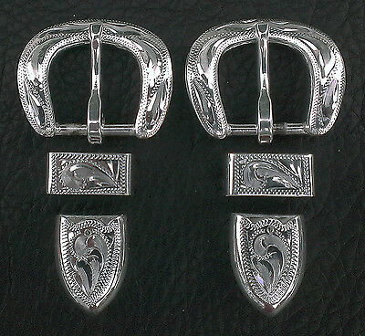 """2 - 5/8"""" Hand Engraved Silver Plated Buckle Sets - Spur Straps Headstall     #12"""