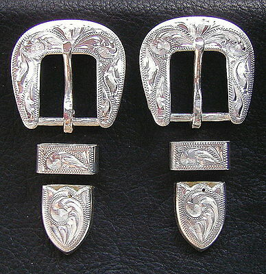 """2 - 5/8"""" Hand Engraved Silver Plated Buckle Sets - Spur Straps Headstall      #5"""