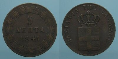 Grecia Raro 5 Lepta 1841 Re Otto Bb+