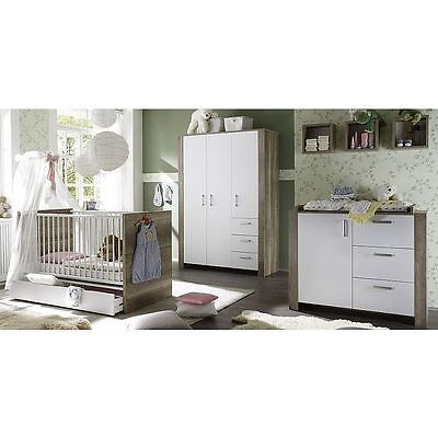 kinderzimmer babyzimmer komplett baby erstausstattung babybett walnuss 3trg set. Black Bedroom Furniture Sets. Home Design Ideas