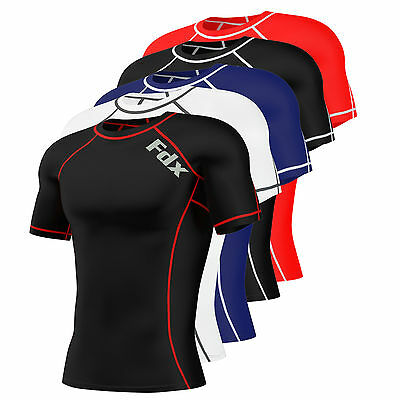 Mens-Compression-Armour-Base-Layer-Top-Half- Sleeve Thermal Gym Sports Shirt