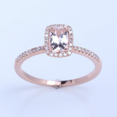 Solid10K Rose Gold Morganite Engagement Diamonds Ring Halo Setting 4x6mm Cushion