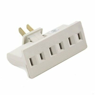 3 Outlet Grounded AC Power 2 Prong Swivel Light Wall Tap Adapter UL Listed Beige