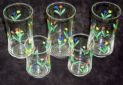 """Set of 5 pcs glasses of """"Jublee""""  pattern glasses by Libbey  great condition"""