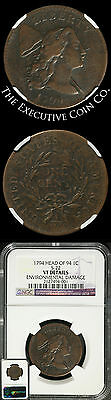 1794 Large Cent HEAD OF 1794  NGC VF DETAILS ENVIRONMENTAL DAMAGE