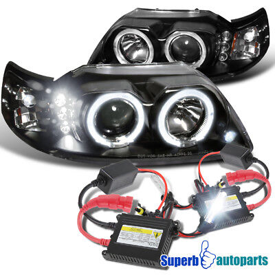 1999-2004 FORD MUSTANG BLACK HALO PROJECTOR HEAD LIGHT+FRONT FOG LAMP+8K HID KIT