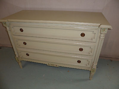 A Superb Originally Painted Large 3 Drawer Breakfront Columned Chest of Drawers