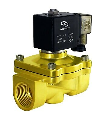 """1"""" Inch NC Brass Electric Zero Differential Air Water Solenoid Valve 12V DC NBR"""