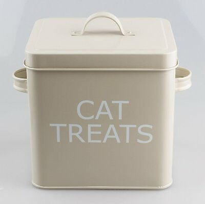 Vintage Retro Stye Metal CAT TREATS Tin Box With Lid in Olive Colour NEW BOXED