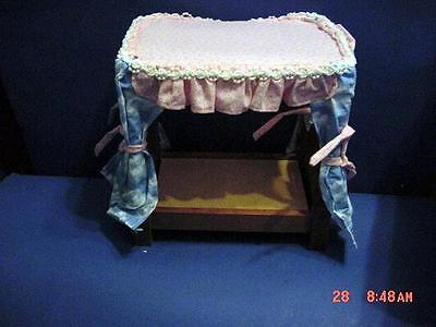 RAIKES MISSY CANOPY BED WHITE PINK AND BLUE FABRIC