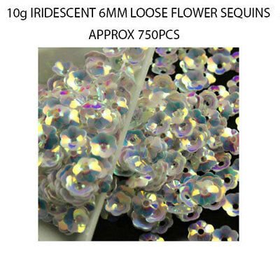 750pcs Iridescent Shiny 6mm Flowers Loose Sequins Paillettes Sewing Crafts DIY