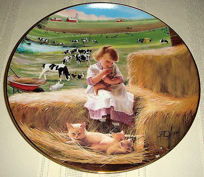 DONALD ZOLAN Country Companions Cows Chicks Kitten Girl SPECIAL BOND Plate [Bxd]