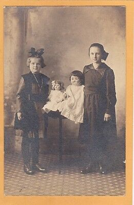 Studio Real Photo Postcard RPPC - Two Girls with Two Dolls