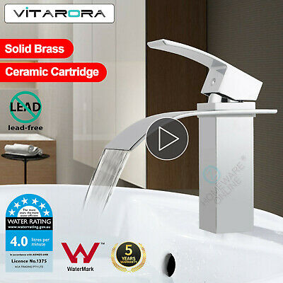 Square  Bathroom Basin Sink Mixer Flick VanityTap WELS Waterfall Chrome Faucet