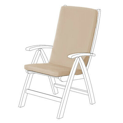 Stone Water Resistant Highback Garden Dining Chair Back & Seat Cushion Pad ONLY