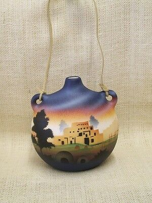 Cedar Mesa Native American Made and Painted Pottery Taos Village Large Canteen