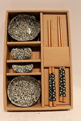 Novelty Pair of Chopstick Gift Set with Flower Design 2 Dipping Bowls In Box