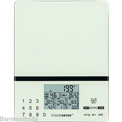 Bodysense 5kg/1g Electronic Digital Kitchen Nutrition Calorie Diet Scales 61222
