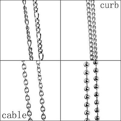 18''-28''Stainless Steel Figaro/Curb/Cable/Ball Necklace Chain Link Silver