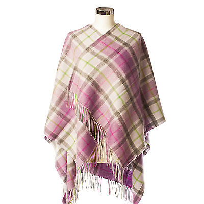 EDINBURGH LAMBSWOOL 100% Lambswool Girls & Ladies Cape Light Purple Check