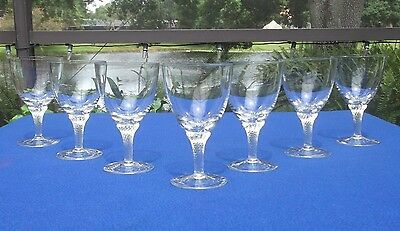 Seven George Borgfeldt Lisa Pattern Crystal Water or Wine Goblets