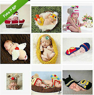 16New born Baby Crochet Knit Costume Clothes Girl Boy Photo Photography Prop Hat