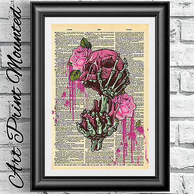 Gothic art print on dictionary book page MOUNTED Skull death flowers wall decor.