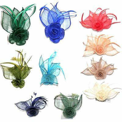 Hessian Netted Rose Fascinator on Beak Clip & Brooch Pin Wedding Various Colours