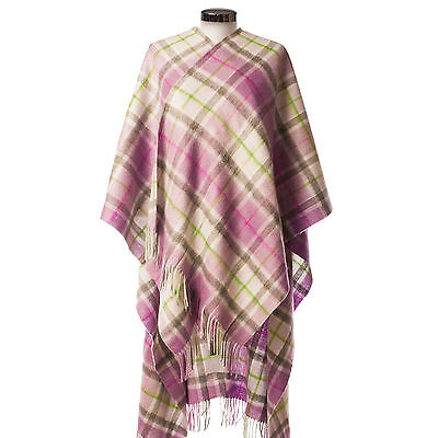 EDINBURGH LAMBSWOOL 100% Luxury Lambswool Ladies Cape Light Purple Check