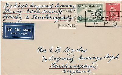 Australia 1938 First Flying Boat Airmail Cover -Rare To England