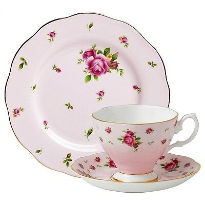 ROYAL ALBERT NEW COUNTRY ROSES 3 PIECE TEA SET, PINK, NEW IN BOX, FREE SHIPPING