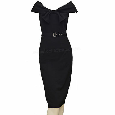 Bow Collar Pencil Dress Rockabilly Pin Up Costume Retro Vintage Gothic Cocktail