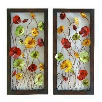 Black Metal Wire Poppy Daisy Flower Wall Hanging Home Decor Set 2 NEW