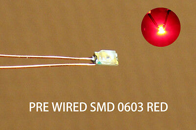C0603R 20pcs Pre-soldered micro 0.1mm Copper Wired RED SMD Led 0603 NEW