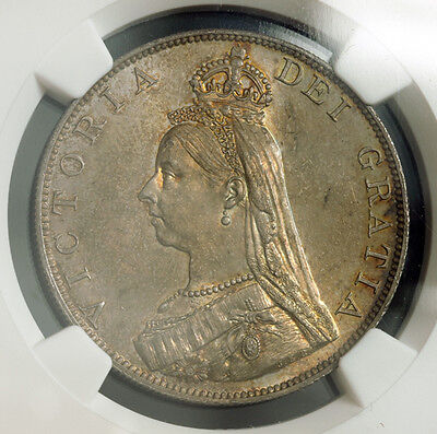 1887, Great Britain, Victoria. Silver Double Florin (4 Shillings). NGC MS-63!