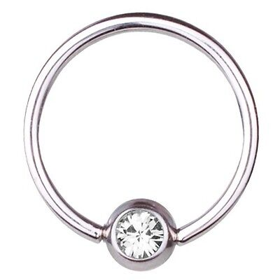 Titanium Piercing Bcr 1,2mm Vertical Ring With Double Ball IN 5//6mm And Stone