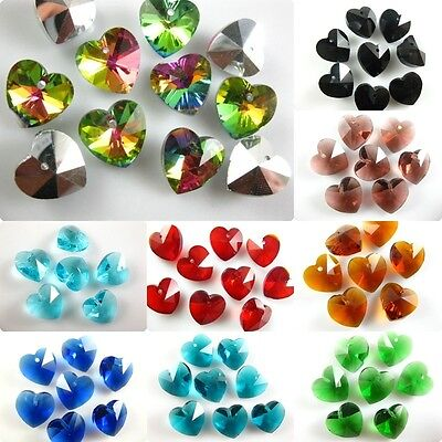 Assorted Charms Glass Crystal Heart Faceted Pendant Spacer Finding Beads 14mm