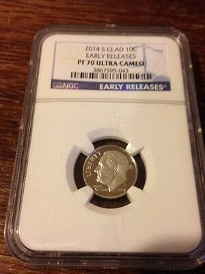 2014-S CLAD NGC PROOF-70 Roosevelt Dime ULTRA CAMEO Early Releases