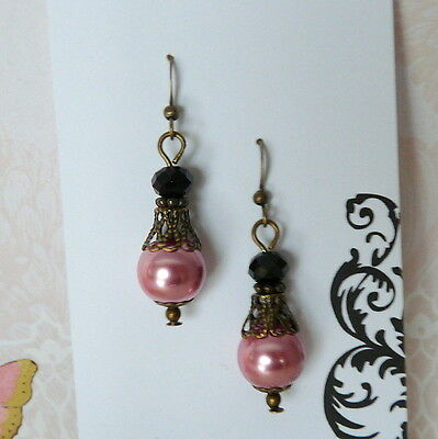 Victorian Vintage Style Rose Pink Pearl & Black Crystal Bronze Earrings #A12