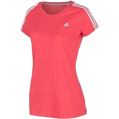 Adidas Essentials Womens Ladies Running Fitness Gym Pink T Shirt Top 10 12 14