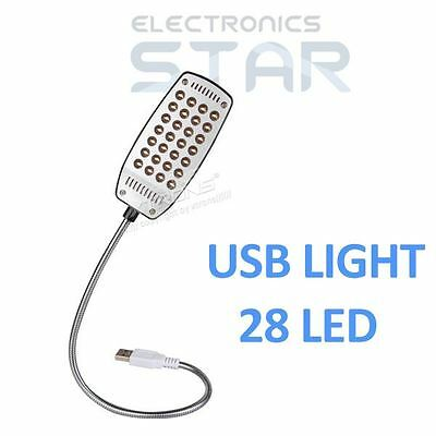 USB 28 LED Laptop PC Notebook Computer Snake Mini Light Lamp Metal Flexible