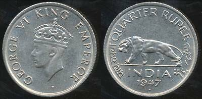 India, British India, 1947 1/4 Rupee, George VI - Uncirculated