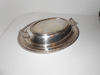 Vintage National Silver on Copper 4005 Oval Bowl w/Cover